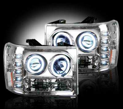 Recon Lighting - GMC Sierra 07-13 (2nd GEN) PROJECTOR HEADLIGHTS - Clear / Chrome - Image 2