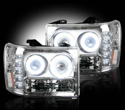 Lighting - Head Lights - Recon Lighting - GMC Sierra 07-13 (2nd GEN) PROJECTOR HEADLIGHTS w/ CCFL HALOS & DRL - Clear / Chrome