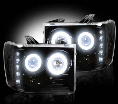 Lighting - Head Lights - Recon Lighting - GMC Sierra 07-13 (2nd GEN) PROJECTOR HEADLIGHTS w/ CCFL HALOS & DRL - Smoked / Black
