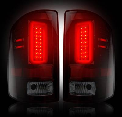 Recon Lighting - GMC Sierra 15-16 2500/3500 (Fits 3rd GEN Single-Wheel ONLY) LED TAIL LIGHTS - Dark Red Smoked Lens - Image 2