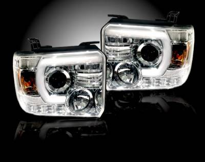Recon Lighting - GMC Sierra 14-17 (3nd GEN) PROJECTOR HEADLIGHTS w/ SMOOTH OLED HALOS & DRL - Clear / Chrome - Image 2