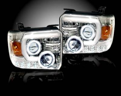 Recon Lighting - GMC Sierra 14-17 (3nd GEN) PROJECTOR HEADLIGHTS w/ SMOOTH OLED HALOS & DRL - Clear / Chrome - Image 3