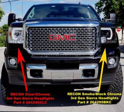 Recon Lighting - GMC Sierra 14-17 (3nd GEN) PROJECTOR HEADLIGHTS w/ SMOOTH OLED HALOS & DRL - Clear / Chrome - Image 4