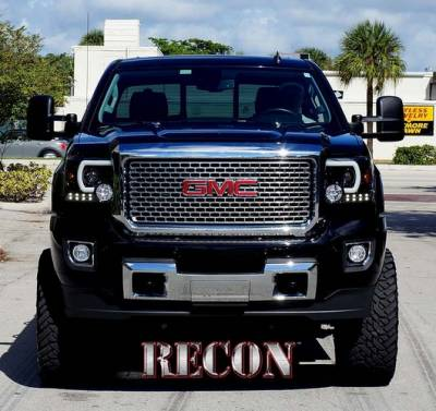 Lighting - Head Lights - Recon Lighting - GMC Sierra 14-17 (3nd GEN) PROJECTOR HEADLIGHTS w/ SMOOTH OLED HALOS & DRL - Smoked / Black