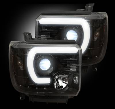 Recon Lighting - GMC Sierra 14-17 (3nd GEN) PROJECTOR HEADLIGHTS w/ SMOOTH OLED HALOS & DRL - Smoked / Black - Image 2