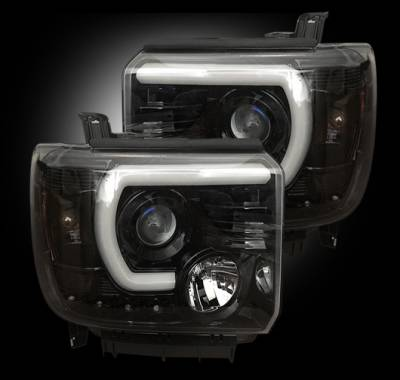 Recon Lighting - GMC Sierra 14-17 (3nd GEN) PROJECTOR HEADLIGHTS w/ SMOOTH OLED HALOS & DRL - Smoked / Black - Image 3