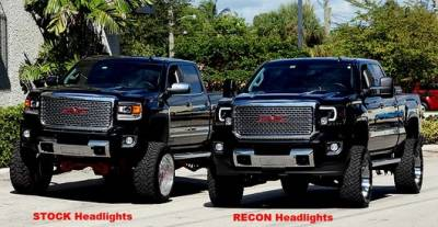 Recon Lighting - GMC Sierra 14-17 (3nd GEN) PROJECTOR HEADLIGHTS w/ SMOOTH OLED HALOS & DRL - Smoked / Black - Image 4