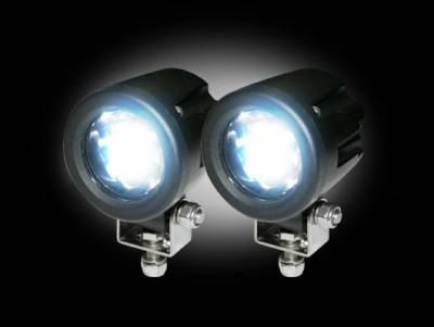 """Recon Lighting - High-Power 3000 Lumen LED Driving / Utility Lights w/ Impact Resistant Circle Shaped Housing 6000K White LEDs - Sold as a Pair - Chrome Internal Housing with Clear Lens w/ Black Reinforced Housing - Dimensions are (LxWxH) 2.00"""" x 2.50"""" x 2.00"""" - Image 2"""