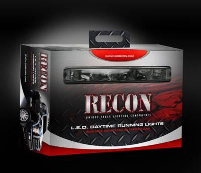 "Recon Lighting - LED Daytime Running Lights w White LED's & Rectangular Shaped Housing aka ""AUDI Style"" - CLEAR LENS - Image 3"