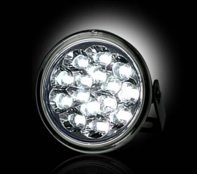 Lighting - Off Road Lighting / Light Bars - Recon Lighting - LED Daytime Running Lights w White LED's & Round Shaped Housing - CLEAR LENS