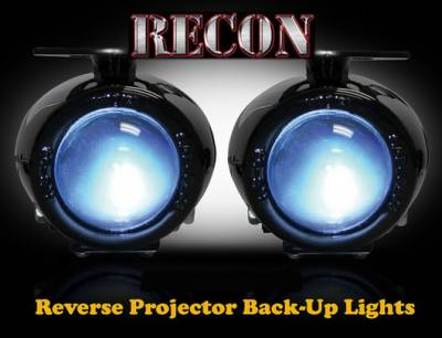 Lighting - Off Road Lighting / Light Bars - Recon Lighting - Rear Mounted 2-Piece Universal Projector Reverse Light Kit with 110 Watts of Xenon Super White Light (Fits All Pick Up Trucks, SUVs, & Cars)