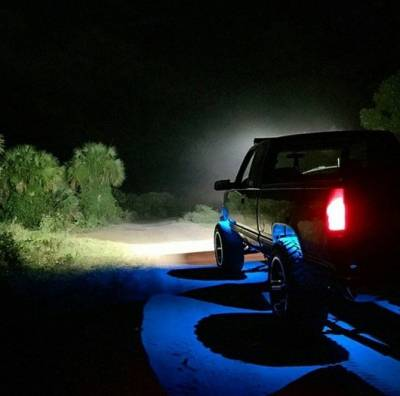 "Lighting - Off Road Lighting / Light Bars - Recon Lighting - Under Body / Wheel Well Mounted Rectangular Ultra High Power 15-Watt 1600-Lumen CREE LEDs IP67 Waterproof (Includes Wiring Hardware & Gaskets for 4pc Kit - Dimensions: L x H x D = 3.0"" x 1.7"" x 1.0"") - BLUE"