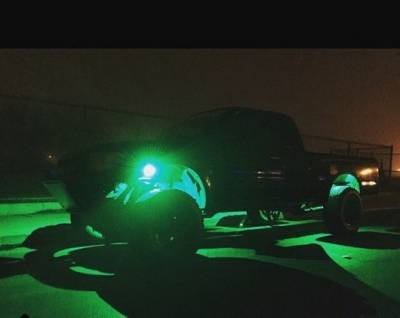 "Lighting - Off Road Lighting / Light Bars - Recon Lighting - Under Body / Wheel Well Mounted Rectangular Ultra High Power 15-Watt 1600-Lumen CREE LEDs IP67 Waterproof (Includes Wiring Hardware & Gaskets for 4pc Kit - Dimensions: L x H x D = 3.0"" x 1.7"" x 1.0"") - GREEN"