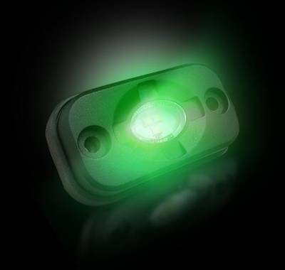 "Recon Lighting - Under Body / Wheel Well Mounted Rectangular Ultra High Power 15-Watt 1600-Lumen CREE LEDs IP67 Waterproof (Includes Wiring Hardware & Gaskets for 4pc Kit - Dimensions: L x H x D = 3.0"" x 1.7"" x 1.0"") - GREEN - Image 3"