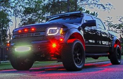 "Lighting - Off Road Lighting / Light Bars - Recon Lighting - Under Body / Wheel Well Mounted Rectangular Ultra High Power 15-Watt 1600-Lumen CREE LEDs IP67 Waterproof (Includes Wiring Hardware & Gaskets for 4pc Kit - Dimensions: L x H x D = 3.0"" x 1.7"" x 1.0"") - RED"