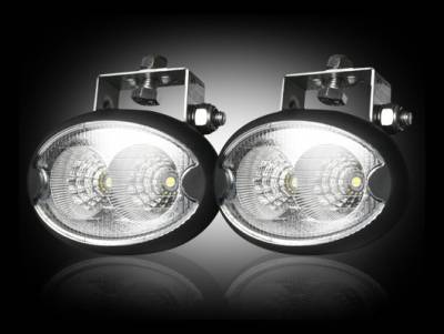 "Recon Lighting - 1100 Lumen LED Driving / Utility Light Kit w Oval Shaped Housing - Two White 10W 6500K LED's in Each Light - Sold as a Pair - Chrome Internal Housing with Clear Lens w/ Black Housing - Housing Dimensions are (LxWxH) 3.75"" x 2.00"" x 2.25"""