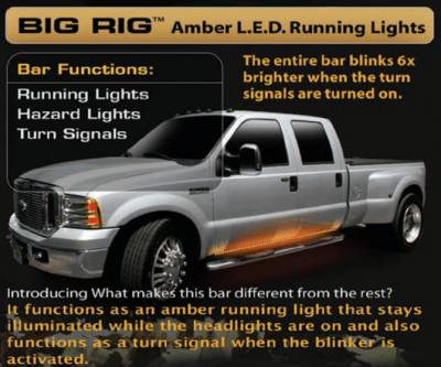 "Lighting - Accent Lighting & Accessories  - Recon Lighting - 62"" BIG RIG LED Running Light Kit in Amber - 2 Piece Set Includes Left & Right Side (Fits all Extended & Quad Cab Trucks)"