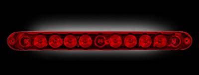 "Recon Lighting - 15"" Mini Tailgate Light Bar w/ Red LED Running Lights, Brake Lights, & Turn Signals with Red Lens (Only Fits FORD & CHEVY/GMC Turbo Diesel & Heavy Duty Trucks)"