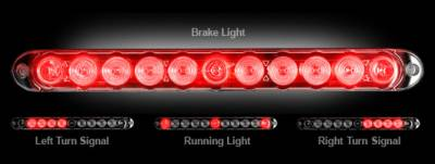 "Recon Lighting - 15"" Mini Tailgate Light Bar w/ Red LED Running Lights, Brake Lights, & Turn Signals with Smoked Lens (Only Fits FORD & CHEVY/GMC Turbo Diesel & Heavy Duty Trucks) - Image 2"