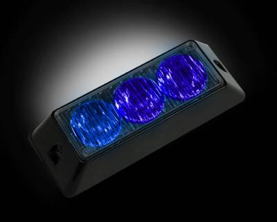 Recon Lighting - 3-LED 12 Function 3-Watt High-Intensity Strobe Light Module w Black Base - Blue Color - Image 1