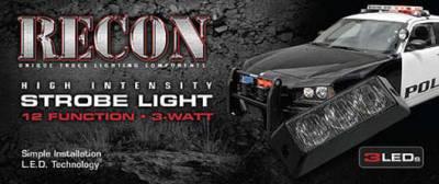 Recon Lighting - 3-LED 12 Function 3-Watt High-Intensity Strobe Light Module w Black Base - Red Color - Image 3