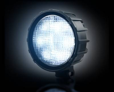 """Recon Lighting - 3500 Lumen LED Driving / Utility Light w/ Impact Resistant Circle Shaped Housing & Six 6000K White LEDs - Sold Individually - Black Chrome Internal Housing with Clear Lens w/ Black Reinforced Housing - Dimensions are (LxWxH) 4.50"""" x 2.50"""" x 4.50"""" - Image 2"""