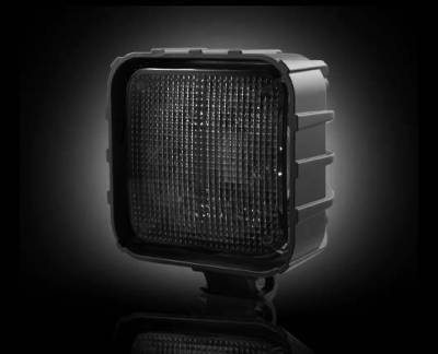 "Recon Lighting - 3500 Lumen LED Driving / Utility Light w/ Impact Resistant Square Shaped Housing & Six 6000K White LEDs - Sold Individually - Black Chrome Internal Housing with Clear Lens w/ Black Reinforced Housing - Dimensions are (LxWxH) 4.25"" x 2.50"" x 4.25"" - Image 1"