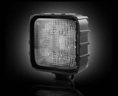 "Recon Lighting - 3500 Lumen LED Driving / Utility Light w/ Impact Resistant Square Shaped Housing & Six 6000K White LEDs - Sold Individually - Chrome Internal Housing with Clear Lens w/ Black Reinforced Housing - Dimensions are (LxWxH) 4.25"" x 2.50"" x 4.25"" - Image 1"