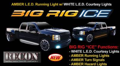 "Recon Lighting - 48"" BIG RIG ICE LED Running Light Kit in Amber w White LED Courtesy Light - 2 Piece Set Includes Left & Right Side (Fits all Standard & Regular Cab Trucks) - Image 1"