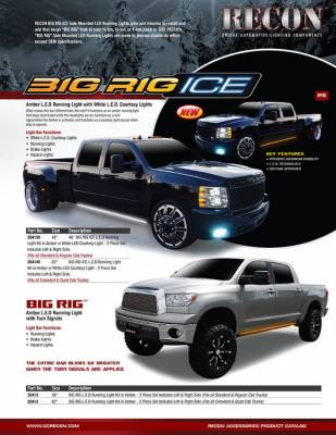 "Recon Lighting - 48"" BIG RIG ICE LED Running Light Kit in Amber w White LED Courtesy Light - 2 Piece Set Includes Left & Right Side (Fits all Standard & Regular Cab Trucks) - Image 3"