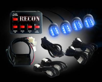Recon Lighting - 36-Watt 4-Bulb Professional-Grade LED Blue Strobe Light Kit with 19 Different Flash Patterns & In-Vehicle Control Switch - All Plug & Play