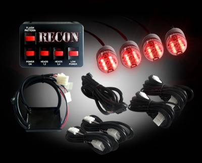 Recon Lighting - 36-Watt 4-Bulb Professional-Grade LED Red Strobe Light Kit with 19 Different Flash Patterns & In-Vehicle Control Switch - All Plug & Play