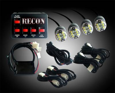 Recon Lighting - 36-Watt 4-Bulb Professional-Grade LED Red Strobe Light Kit with 19 Different Flash Patterns & In-Vehicle Control Switch - All Plug & Play - Image 2
