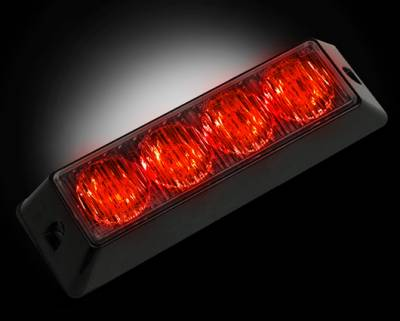 Lighting - Accent Lighting & Accessories  - Recon Lighting - 4-LED 19 Function 4-Watt High-Intensity Strobe Light Module w Black Base - Red Color