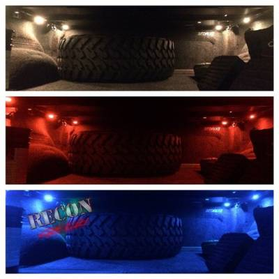 Lighting - Accent Lighting & Accessories  - Recon Lighting - 4' Foot Universal Bed Rail / Cargo Area / Rock Crawler LED Light Kit (2-Piece Set Mounts Almost Anywhere) - 7-Color LEDs with Handheld RF Remote Control