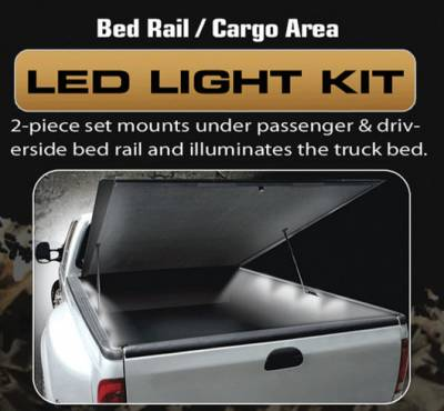 Recon Lighting - 4' Foot Universal Bed Rail / Cargo Area / Rock Crawler LED Light Kit (2-Piece Set Mounts Under Passenger & Drivers Side Bed Rail & Illuminates Truck Bed) - WHITE LEDs - Image 1