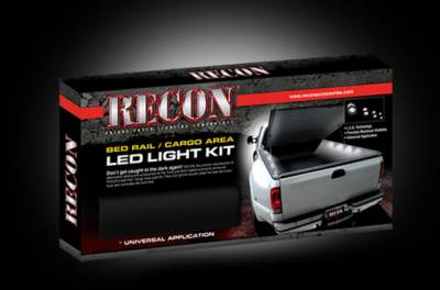 Recon Lighting - 4' Foot Universal Bed Rail / Cargo Area / Rock Crawler LED Light Kit (2-Piece Set Mounts Under Passenger & Drivers Side Bed Rail & Illuminates Truck Bed) - WHITE LEDs - Image 3