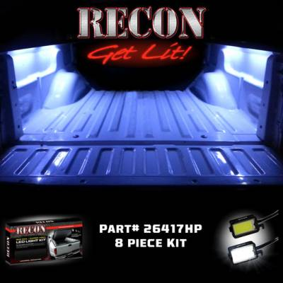 Lighting - Accent Lighting & Accessories  - Recon Lighting - 4' Foot Universal High Power Bed Rail / Cargo Area / Rock Crawler LED Light Kit (2-Piece Set Mounts Under Passenger & Drivers Side Bed Rail & Illuminates Truck Bed) - WHITE LEDs