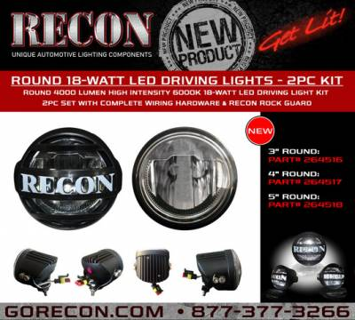 "Recon Lighting - 5"" Round 4000 Lumen High Intensity 6000K 18-Watt LED Driving Light Kit - 2pc Set with Complete Wiring Hardware & RECON Rock Guard - Image 3"
