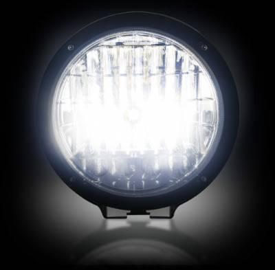 "Recon Lighting - 6"" Round 6,250K HID Driving Light w/ Four 6,250K LED Daytime Running Lights - Chrome Internal Housing - Image 3"