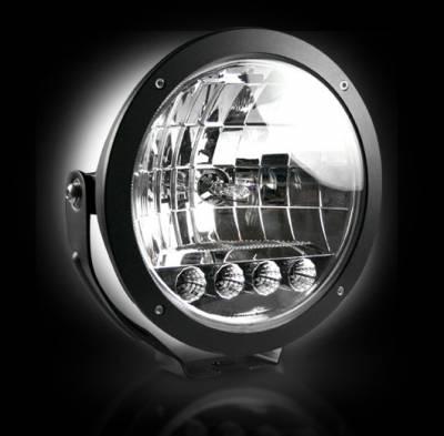 "Recon Lighting - 6"" Round 6,250K HID Driving Light w/ Four 6,250K LED Daytime Running Lights - Chrome Internal Housing - Image 4"