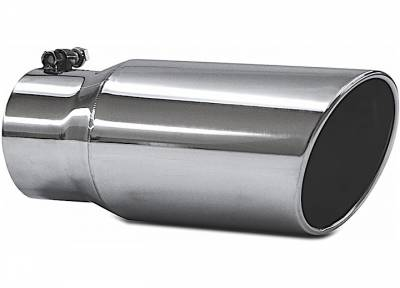 "Exhaust Systems / Manifolds - Exhaust Tips - Jamo Performance Exhaust  - 4"" In - 5"" Out - 12"" Length Stainless Steel Rolled Polished Tip"
