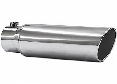 "Exhaust Systems / Manifolds - Exhaust Tips - Jamo Performance Exhaust  - 4"" In - 5"" Out - 18"" Length Stainless Steel Rolled Polished Tip"