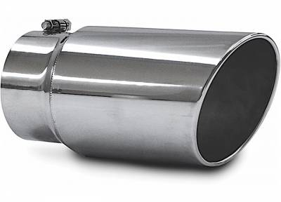 "Exhaust Systems / Manifolds - Exhaust Tips - Jamo Performance Exhaust  - 5"" In - 6"" Out - 12"" Length Stainless Steel Rolled Polished Tip"