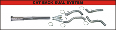 "Exhaust Systems / Manifolds - CAT Back Duals - Flo Pro - 11-15 GM LML 4"" Cat Back Dual - Race - Aluminium"