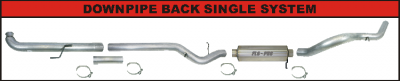 "Exhaust Systems / Manifolds - Turbo Back Single - Flo Pro - 01-07 GM 6.6L 5"" DP Back"