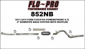 "Exhaust Systems / Manifolds - Turbo Back Single - Flo Pro - 11-16 PS 6.7L 4"" DPB NB RACE"