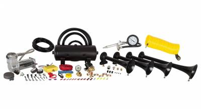 Exterior Accessories - Towing/Pulling & Cargo - HornBlasters - HornBlasters Conductor's Special 238A Train Horn Kit with Coil Hose and Tire Inflation Gun
