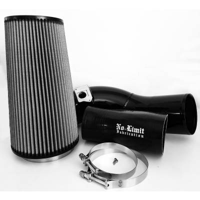 No Limit Fabrication  - 6.0 Cold Air Intake 03-07 Ford Super Duty Power Stroke Black Dry Filter No Limit Fabrication