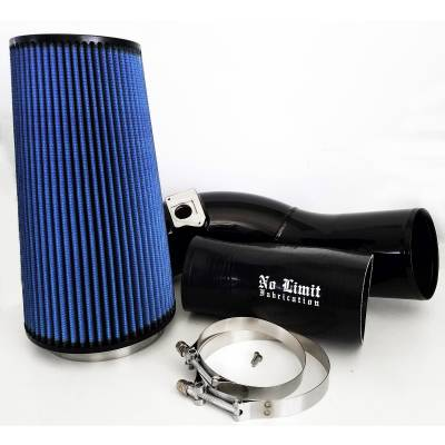 No Limit Fabrication  - 6.0 Cold Air Intake 03-07 Ford Super Duty Power Stroke Black Oiled Filter No Limit Fabrication